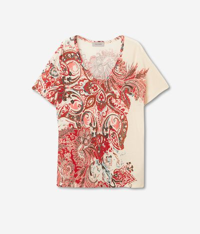 T-Shirt Scollo a V in Seta Fresh Stampata