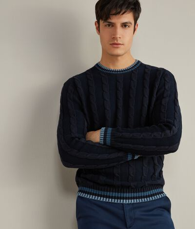Cotton and Silk Round-Neck Jumper