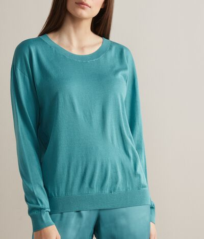 Silk and Cotton Crew Neck Sweater
