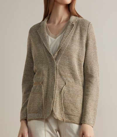 Linen Jacket with Drawstring