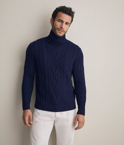 Chunky cable turtleneck sweater