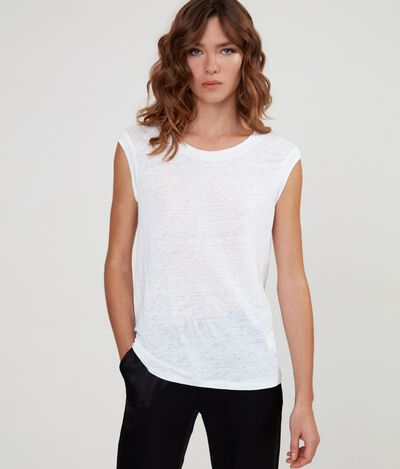T-Shirt Scollo Barchetta in Lino