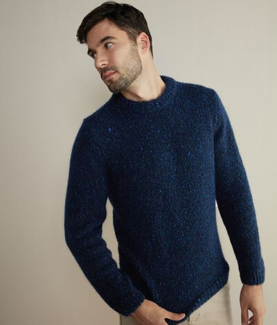 Wool and Mohair Tweed Crew Neck Sweater