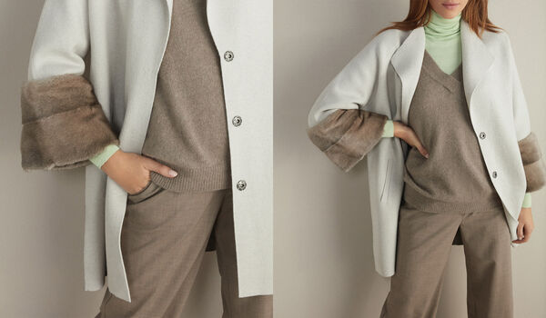 Two-toned Cashmere Coat with Mink Cuffs