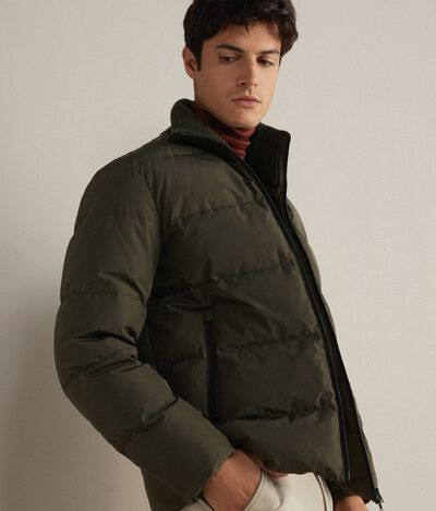 Down Jacket with Wool Collar