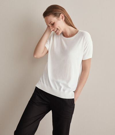 Crew Neck Sweater in Silk and Cotton