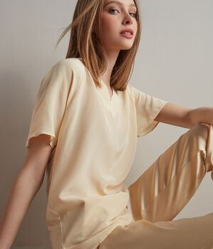 Silk and Modal T-Shirt with V-Neck