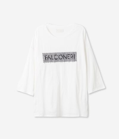 Fresh Silk T-Shirt with Falconeri Embroidery