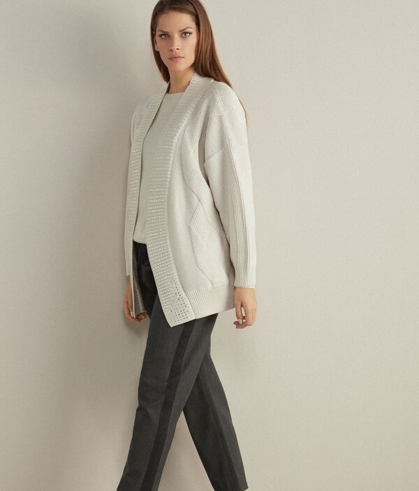 Cardigan in Lana a Losanghe con Strass
