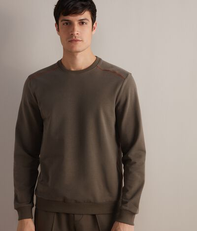 Round-Neck Cotton and Silk Sweatshirt