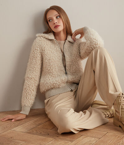 Knitted Loop Stitch Bomber
