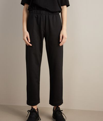 Cotton and Silk Wide-Leg Pants