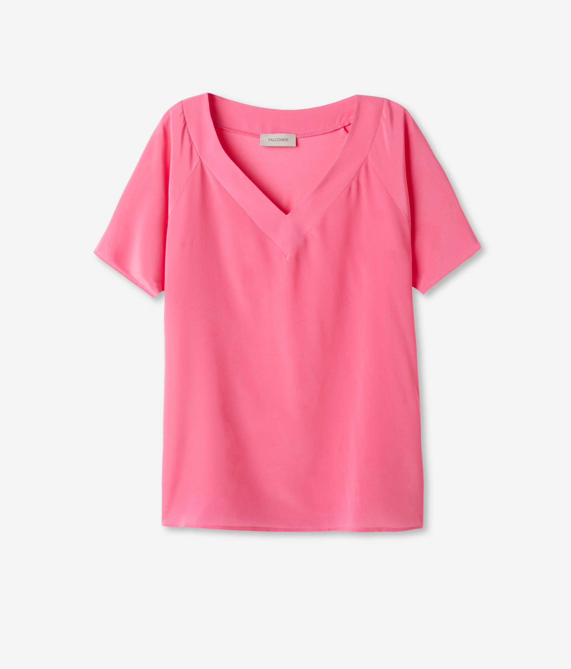 T-shirt Scollo V in Seta e Modal