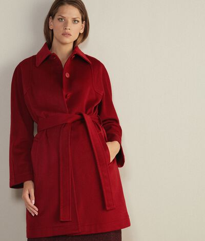 Cappotto in Cashmere con Impunture a Vista
