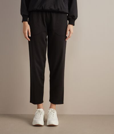 Silk and Cotton Wide-Leg Pants
