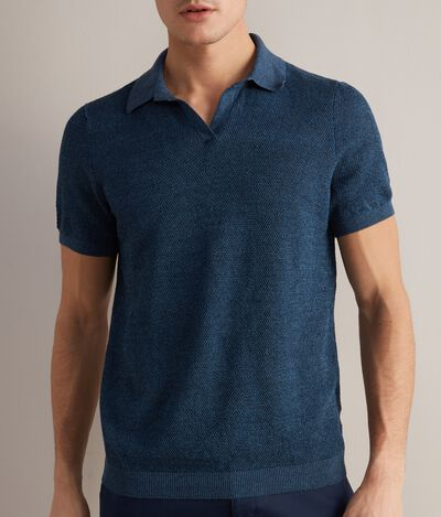 Linen and Cotton Piqué Polo Shirt
