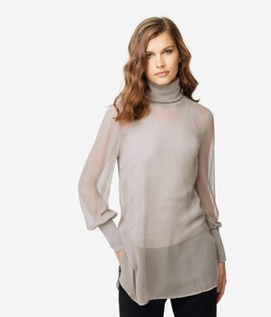 Silk Polo Neck Blouse