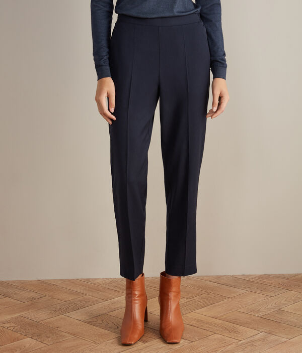Viscose and Wool Cigarette Trousers