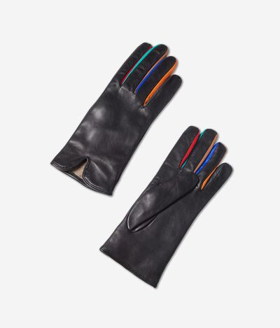 Multicoloured Cashmere and Leather Gloves