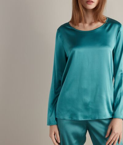 Silk Blouse with Wide Neckline