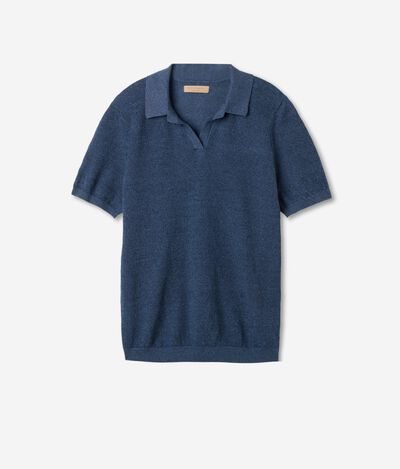 Linen and Cotton Blend Pique Polo Shirt