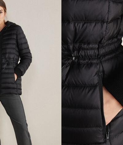 Down Jacket with Drawstring