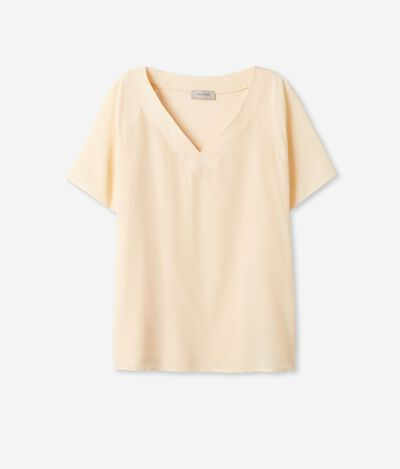Silk and Modal V-neck T-Shirt
