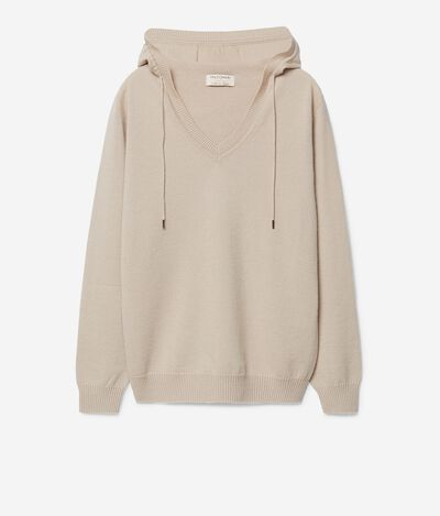 Cashmere Hooded Sweatshirt with Drawstring