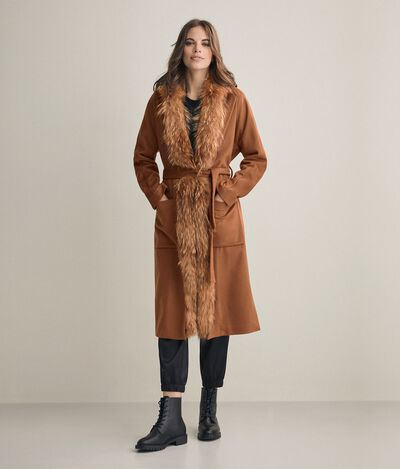 Manteau cachemire bordures fourrure