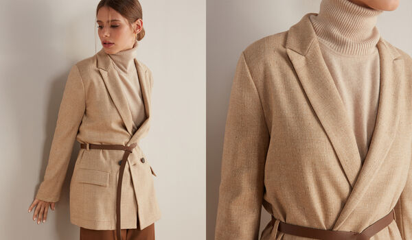 Double-Breasted Jacket with Leather Belt