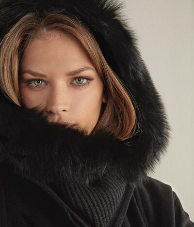 Cashmere Ultrasoft and Fur Hooded Collar