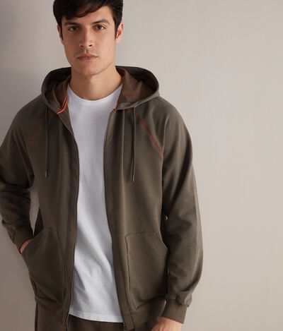 Cotton and Silk Hooded Sweatshirt