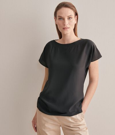 Silk and Modal T-Shirt with Boat-Neck