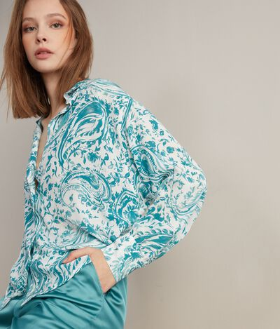 Silk Shirt with Wide Sleeves