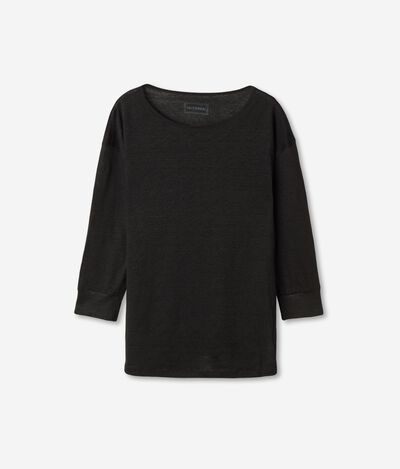 Linen Sweater with Wide Crew Neck