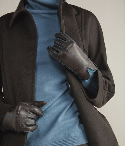 Cashmere and Leather Gloves