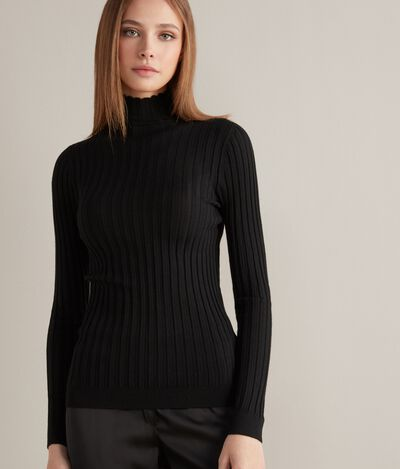 Flat Ribbed Ultralight Cashmere Polo Neck