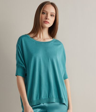 Silk and Cotton Boat-Neck Jumper
