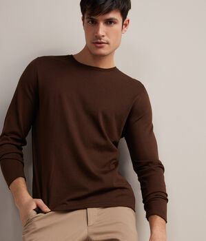 Crew Neck Sweater inSilk and Cotton