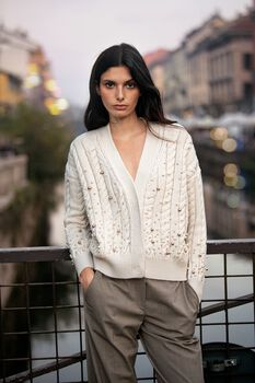Wool Cardigan with Pearls