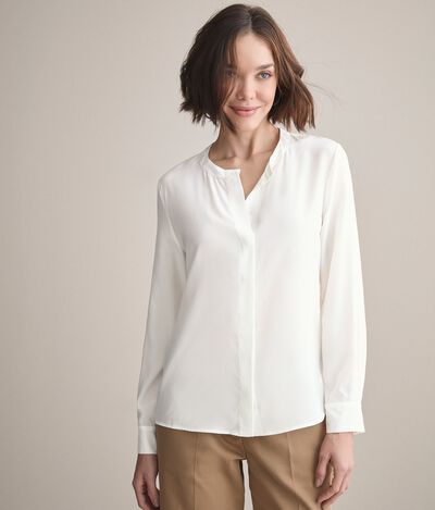 Crew Neck Silk Shirt