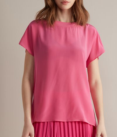 Silk and Modal Boatneck T-Shirt