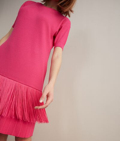 Pleated Dress With Fringe Detail