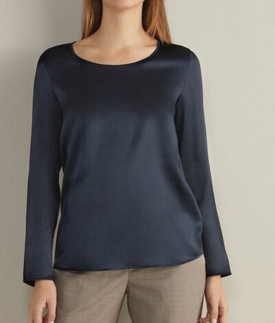 Wide-Neck Silk Blouse